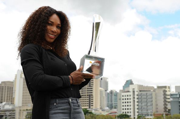 Serena Williams Photos Photos - Serena Williams of the United States poses with the Yvonne Goolagong winners trophy after yesterday winning the Women's final match against Anastasia Pavlyuchenkova of Russia on day eight of the Brisbane International at Pat Rafter Arena on January 6, 2013 in CITY], Australia. - Brisbane International - Day 8
