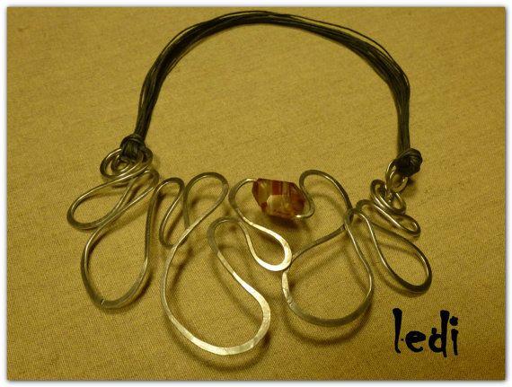 collana Amazzonia 1 filo alluminio filo cerato e di lediShirley