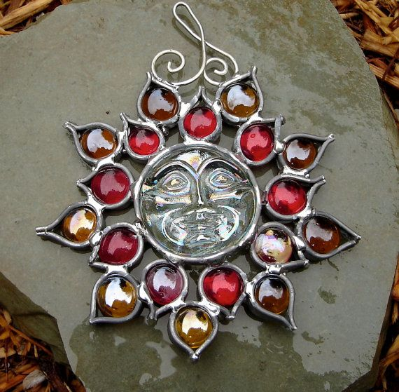 Red Yellow Sunface Flower Stained Glass Suncatcher by dortdesigns, $13.75