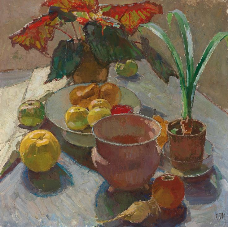 Carl Moll (Austrian, 1861-1945), Still life with pots of flowers and apples, c.1930. Oil on canvas, 60 x 60 cm.