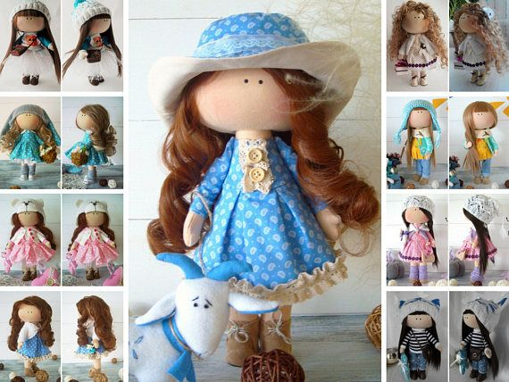 Rag doll Handmade doll Fabric doll Cloth doll Muñecas Baby doll Textile doll Tilda doll Blue doll Soft doll Collection doll by Olga Gn