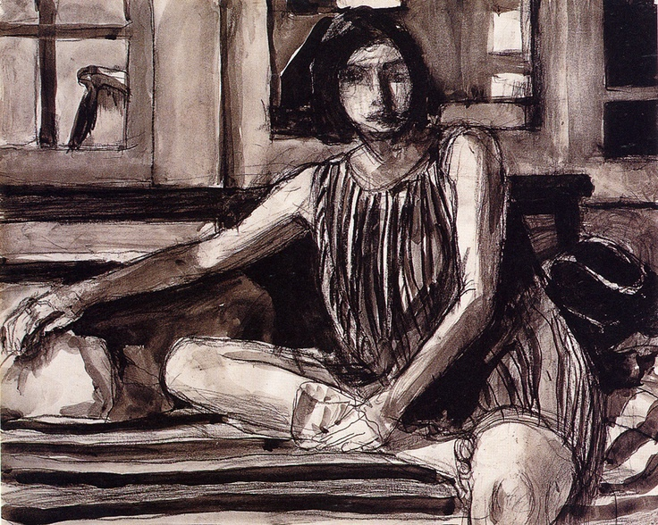 Richard Diebenkorn - Untitled (Seated Woman with Stripped Dress)