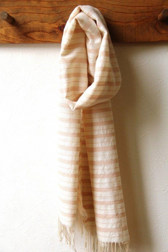 ホームスパン・コットンカシミヤマフラー ピンクボーダー | iichi(いいち)| ハンドメイド・クラフト・手仕事品の販売・購入