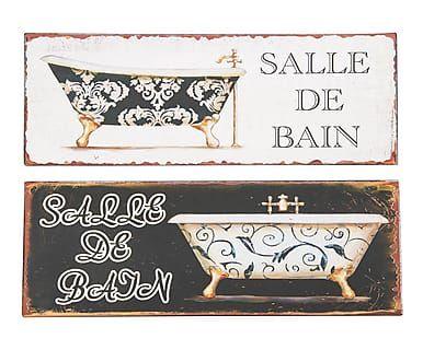 Set di 2 targhe decorative in metallo bianco e nero John, 36x13x1 cm