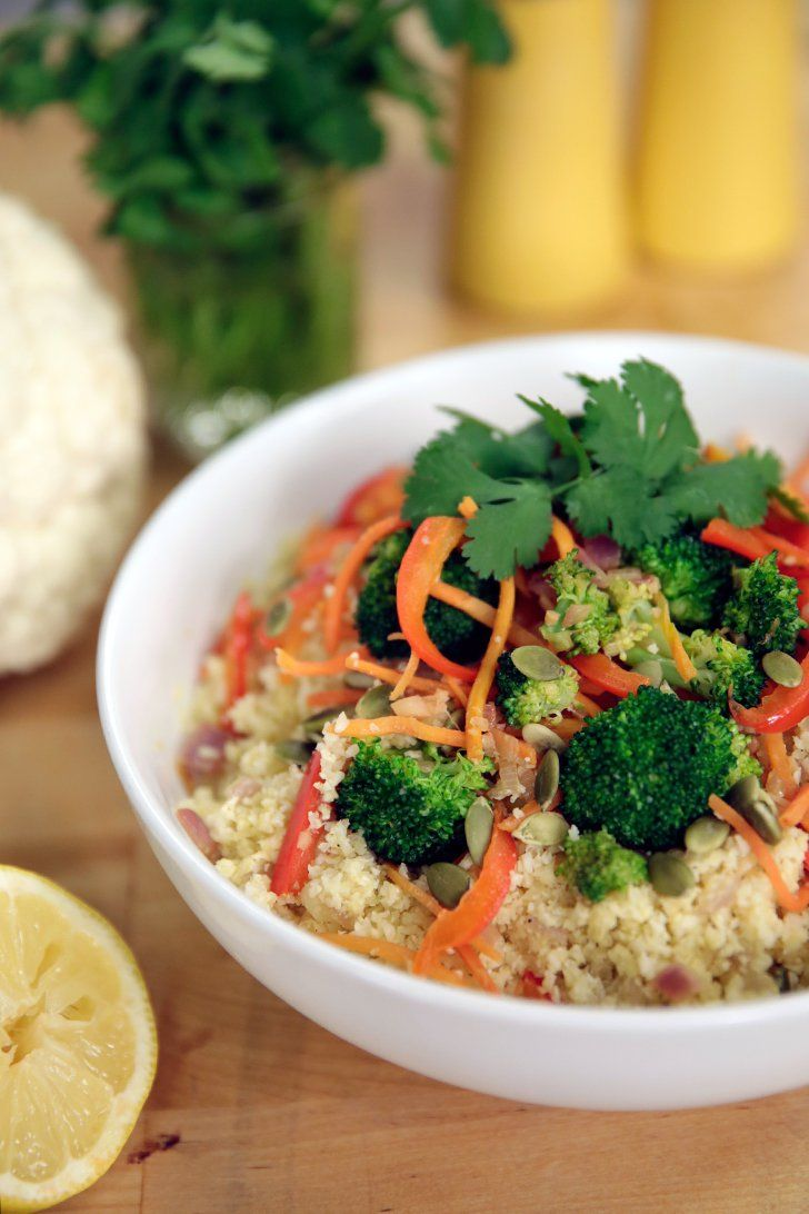 """Pin for Later: 10 Cauliflower """"Grains"""" For Lightened-Up Meals Cauliflower Rice Stir Fry Load up on all your veggies by making a cauliflower-rice stir-fry."""