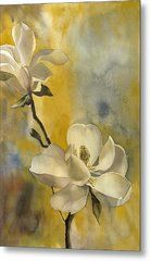 Magnolia With Yellow Metal Print by Alfred Ng