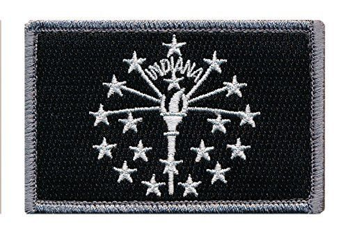 Patch Squad Men's Tactical Indiana Flag Embroidered Patch (Blk/Wht) - High Quality Embroidered Patch - Velcro Hook backing for attachment to Tactical Hats and Gear - Fast and Easy Shipment From USA -