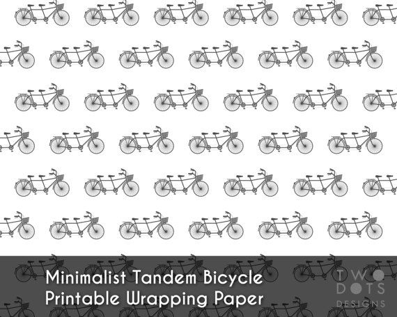 Printable Minimalist Tandem Bicycle Wrapping by TwoDotsDesigns