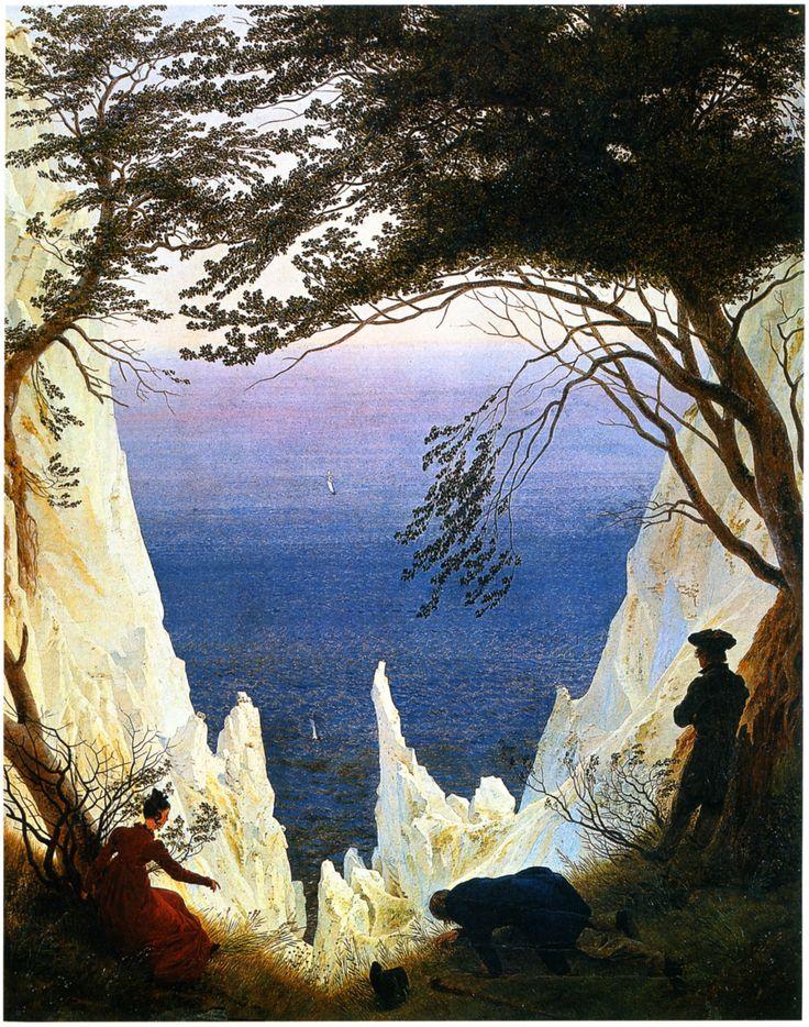 Caspar David Friedrich - Werke, Bilder und Gemälde)  Caspar David Friedrich Kreidefelsen auf Rügen [Chalk Cliffs on Rügen] Oil on canvas, 1819