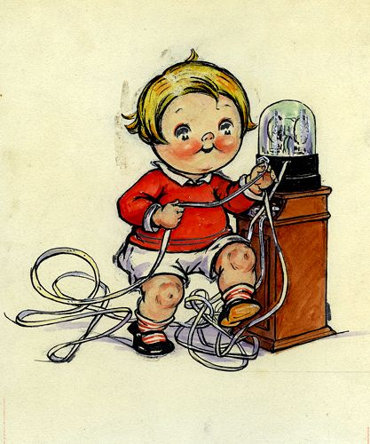 Campbell's Soup Kid with stock market ticker machine