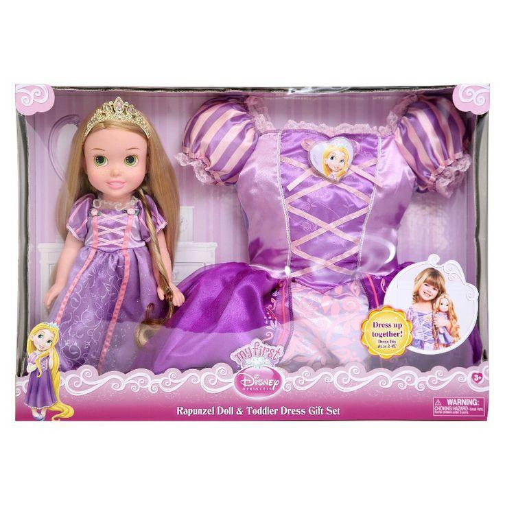 Disney Princess Toddler Doll With Dress: Disney Princess Rapunzel Doll & Toddler Dress Gift Set