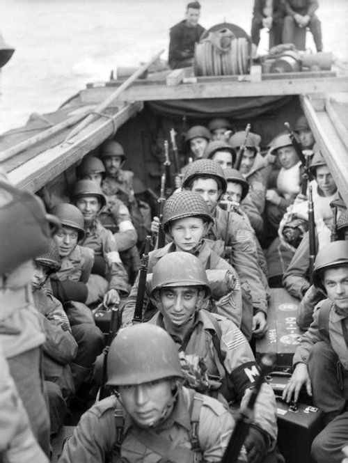 U.S. troops aboard a landing craft head for the beaches during Operation Torch of the North African Campaign. Operation Torch was the joint British and American planned invasion (with additional support from soldiers and sailors of Free France, the Netherlands, Canada and Australia) of Axis-held French North African territories. Oran, Algeria. 8 November 1942.