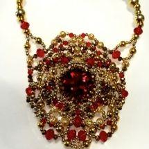 beaded necklace, Ciondolo Perline, Beading Pendant, bead embroidery - by machegioia® - crystal-mandala.com