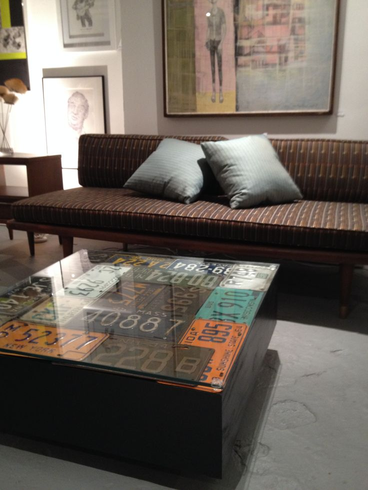 Just placed this coffee table yesterday.  It's made of vintage license plates and makes a great statement with color, texture and history. #newupholstrey #vintagedaybed #vintagefurniturebrooklyn