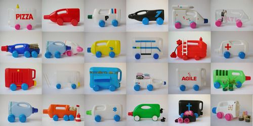 toy trucks made from plastic containers: Recyclart, Plastic Bottles, Idea, For Kids, Black Hair, Toys Trucks, Kids Crafts, Plastic Container, Recycled Art