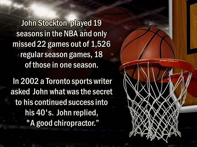 "John Stockton only missed 22 out of 1256 Basketball games when asked the secret to his success he replied....""A Good Chiropractor"". . . .  #Hawkesbay #Hastings #SpinalHealth #Health #NervousSystem #Lovethevillage #lovehavelocknorth #structuralchiro"