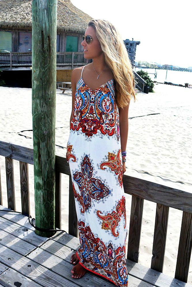 Lakeshore Red Moroccan Tribal Print Maxi Dress