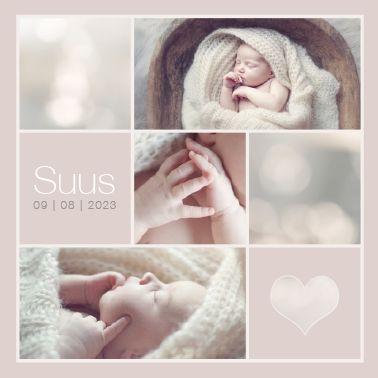 www.hetuilennestje.nl gebootekaartje Suus Lynn: Fotografie/ foto's, collage, hart/ hartjes, simpel, sfeervol, romantisch, babyfoto, vachtje, rustig, lief, zacht, modern, soft,zacht oud roze.