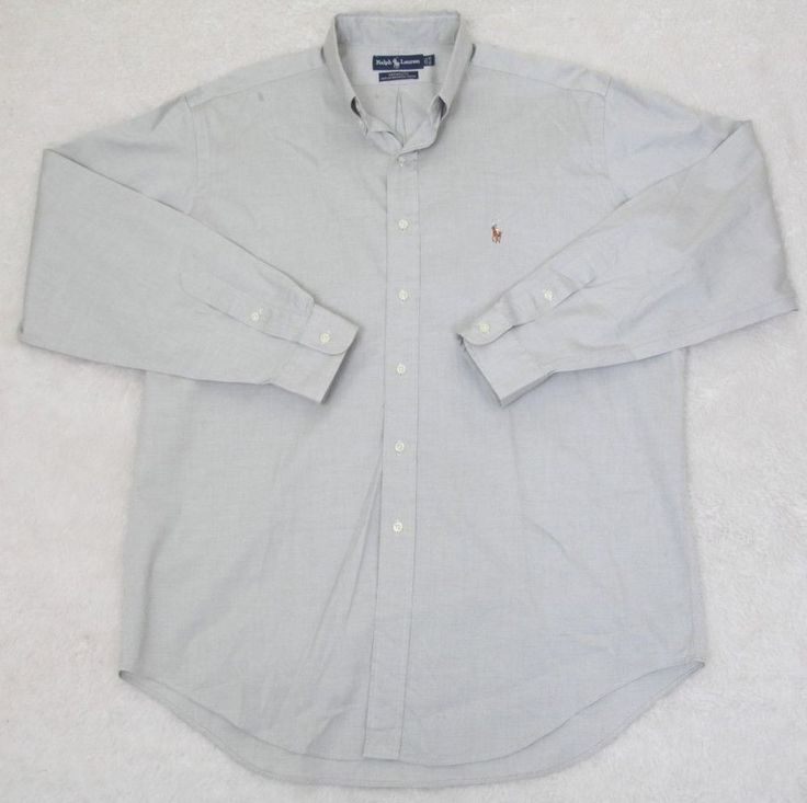Ralph Lauren Polo Dress Shirt 16.5 35 Gray/Beige Pinpoint Oxford Solid Yarmouth #RalphLauren #pinpointoxford
