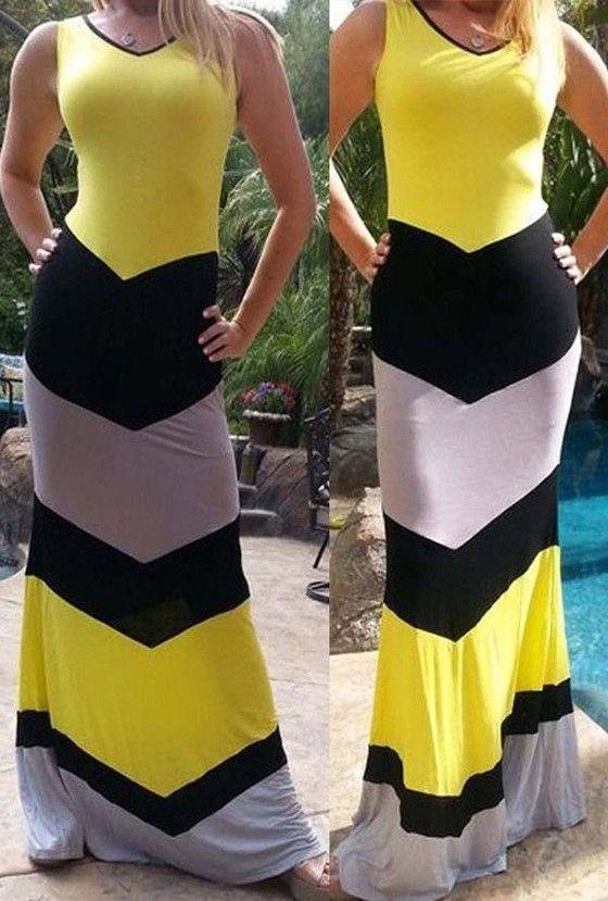 Yellow Patchwork Color Block Print Sleeveless Sexy Maxi Dress