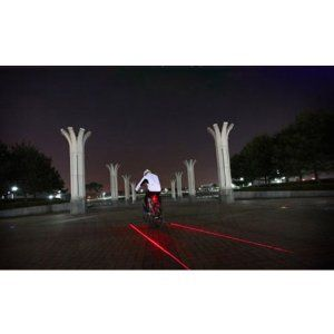 Pellor New 5-LED Bicycle Bike Laser Tail Light  - can be used to project a red virtual bike lane next to your bike - create your own lane anywhere!