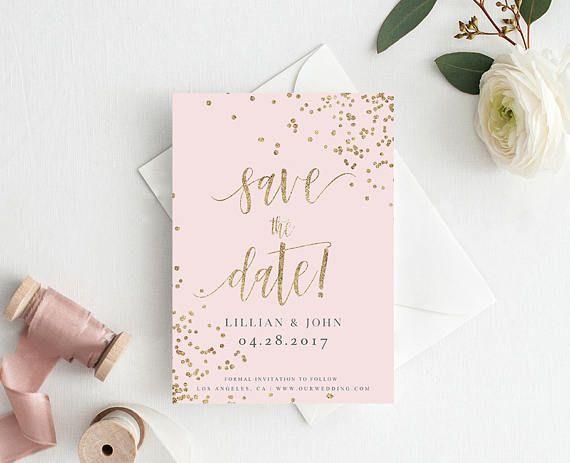 Digitale bruiloft slaan de datum gouden Confetti antieke Rose