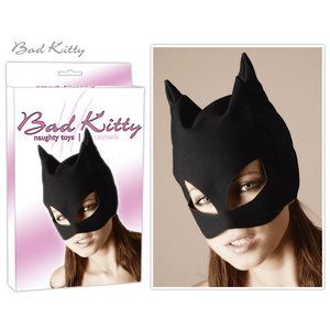 Zwart katten masker gemaakt van nubuck leer. Ogen en mond zijn open.   Specificaties:Kleur - Zwart...