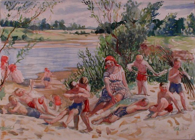 Nikolai B. Terpsikhorov : Children on the Beach, 1929s Дети на пляже,1929e