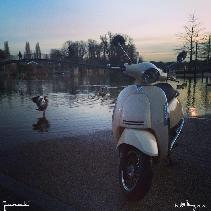 Junak Vintage Scooter in London retro skuter  photoshoot in Twickenham  www.hoozar.co.uk