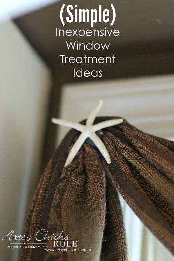 (Simple) Inexpensive Window Treatment Idea - Hot glue starfish to rod and$10 scarf from World Market - artsychicksrule