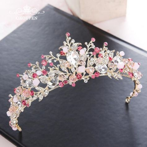 Romantic Colorful Rhinestone Crystal Prom Tiaras Wedding Crowns 2018 Gold Hair J…