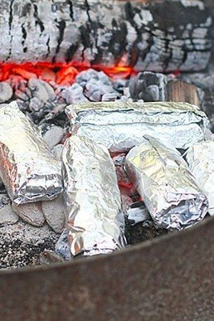 Campfire Breakfast Burritos!  Here are 21 foil-wrapped camping recipes. #camping #cooking #outdoors