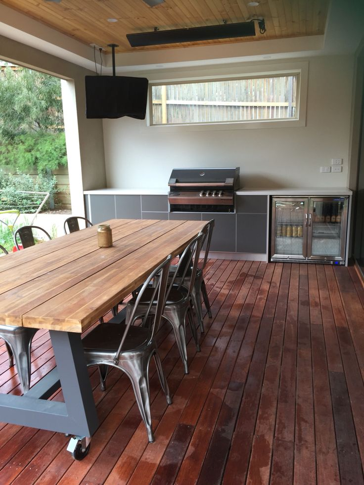 Industrial Outdoor setting, alfresco with timber decking and timber roof... Outdoor BBQ. Renovation officially complete