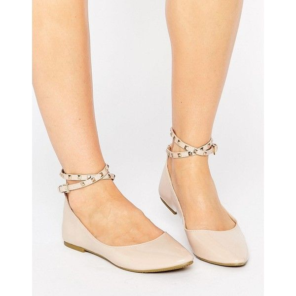 Daisy Street Nude Studded Ankle Strap Ballet Flat Shoes ($26) ❤ liked on Polyvore featuring shoes, flats, beige, ankle wrap ballet flats, beige ballet flats, ballet pumps, studded ankle strap flats and nude ballet flats