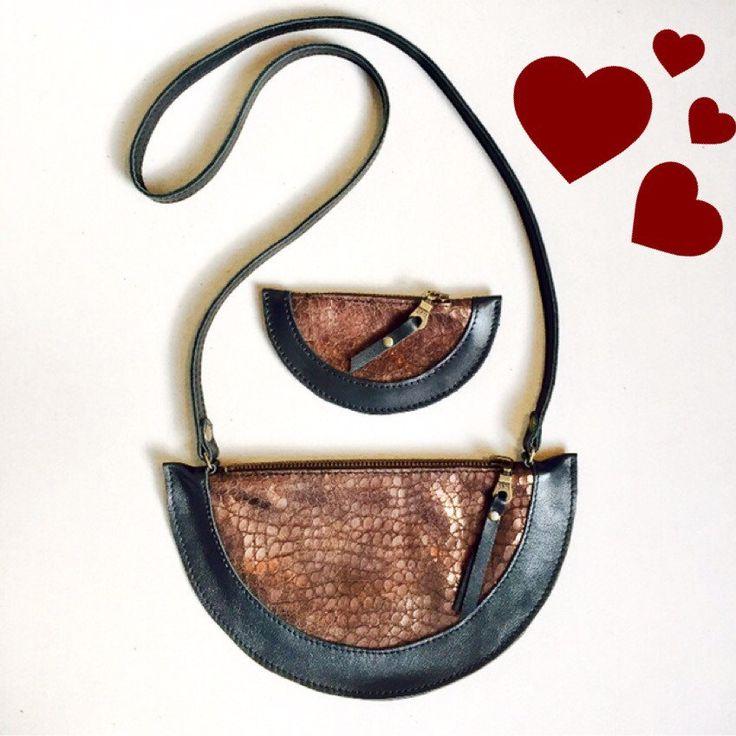 Schoudertas + portemonnee, glimmend leer. Handmade