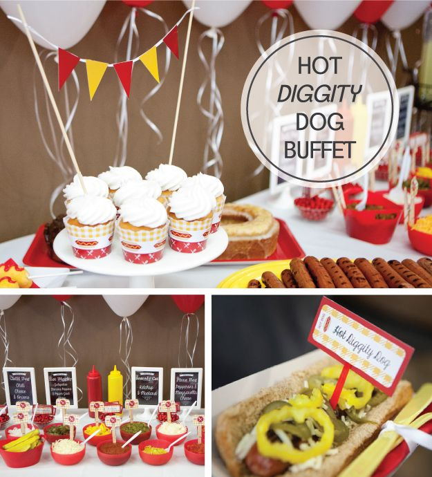 """Hot Diggity Dog Party! Perfect for an """"i do"""" bbq, family reunion, summer picnic or company party! #bigdot #hotdogbar #hotdogparty"""