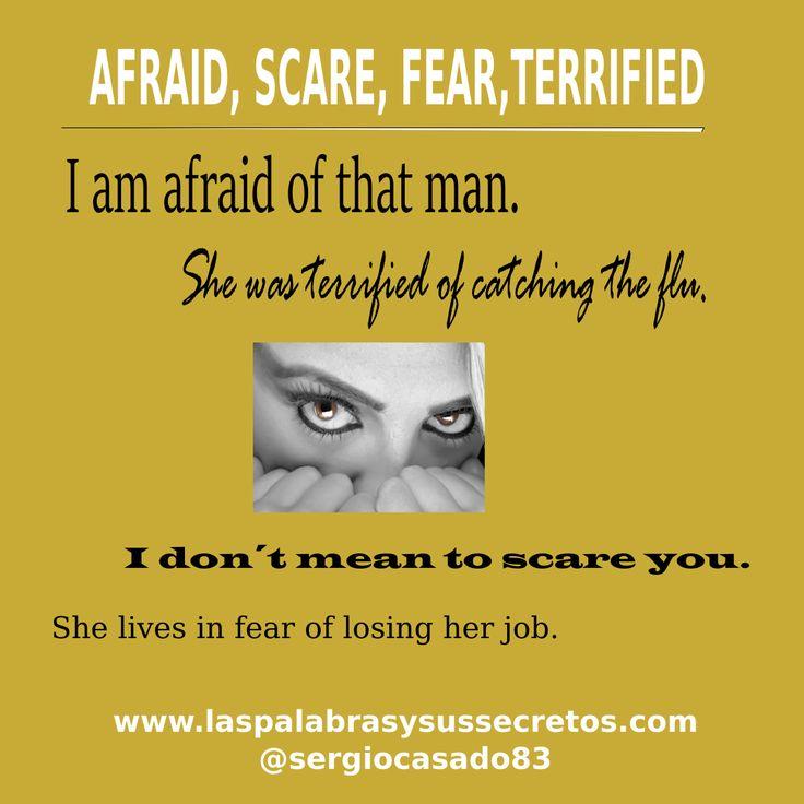 Diferencia entre afraid, scare, fear y terrified. inglés