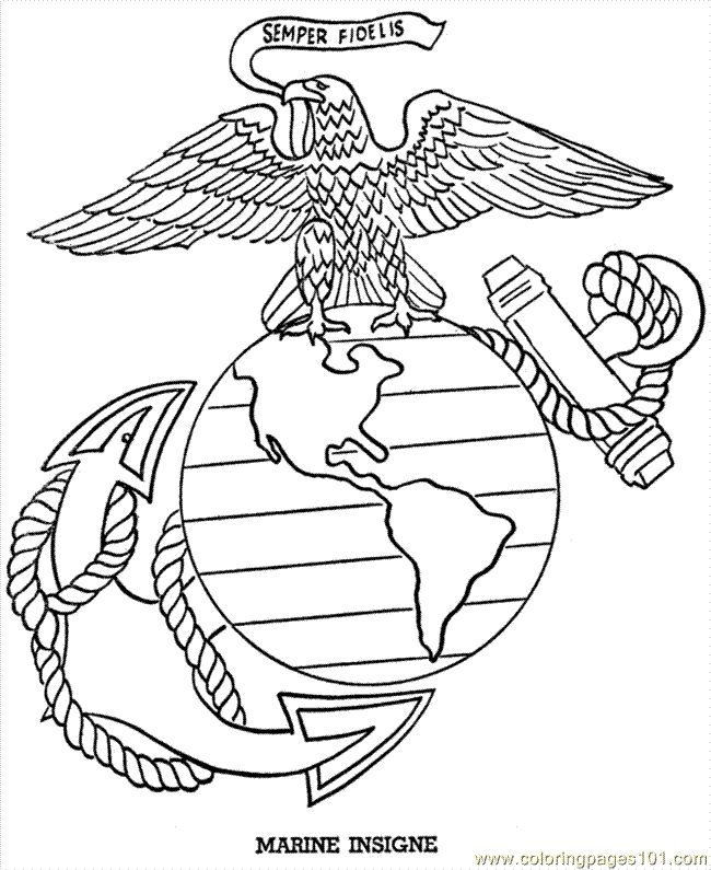 marine insigne drawing to print american flags bald eagle and the liberty bell are a few of the many patriotic coloring pages pictures and sheets in this - Bald Eagle Coloring Page