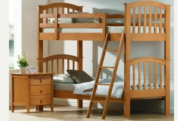 tempat tidur anak tingkat, tempat tidur anak kayu jati