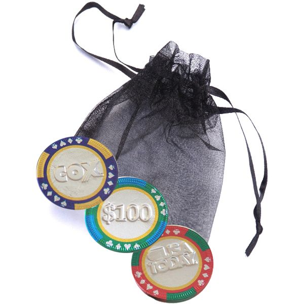 3-pc Chocolate Casino Chip Organza Bag