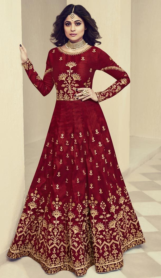 60976ffc3b Attractive Maroon Color Royal Silk Heavy Embroidery Party Wear Gown  #partygown #designergown #gowns #fashion #onlineshopping #heenastyle
