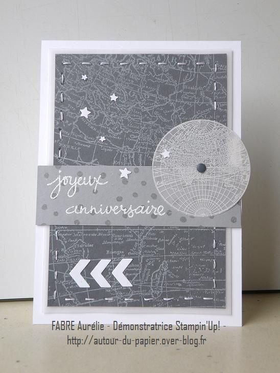 Bonjour à toutes ! Ce n'était pas voulu mais la carte d'aujourd'hui s'accorde particulièrement bien avec le temps... Une réalisation plutôt masculine pour l'anniversaire d'un ami - d'ailleurs il serait temps que la poste - parisien - comme ça, le gris...