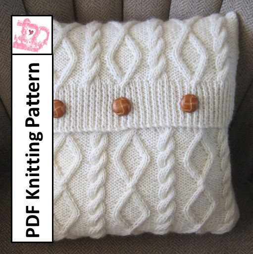 """PDF knitting pattern, knit pillow cover pattern, knitted cushion cover pattern,   Need an update to your home decor? Looking for a gift idea? Cables are always in style. Click on the photo to buy the pattern now!  Diamonds and Cable 16"""" x16"""" pillow cover $4.95"""
