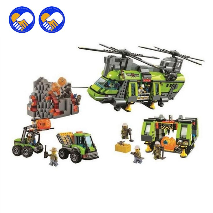 (A Toy A Dream) 10642 City Series Volcano Heavy-lift Helicopter Explorer scientist Building Block Bricks Toys Gift For Children