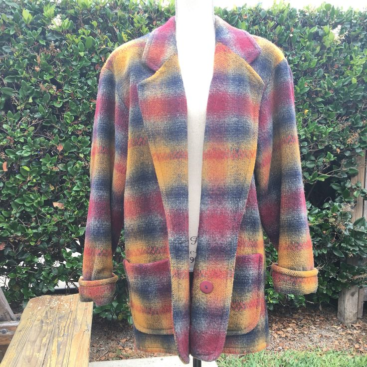 Union Made Plaid Wool Pea Coat jacket mens womens vintage earthtones oversized small Express French Country deep v-neck lapel pockets sale by VELVETMETALVINTAGE on Etsy