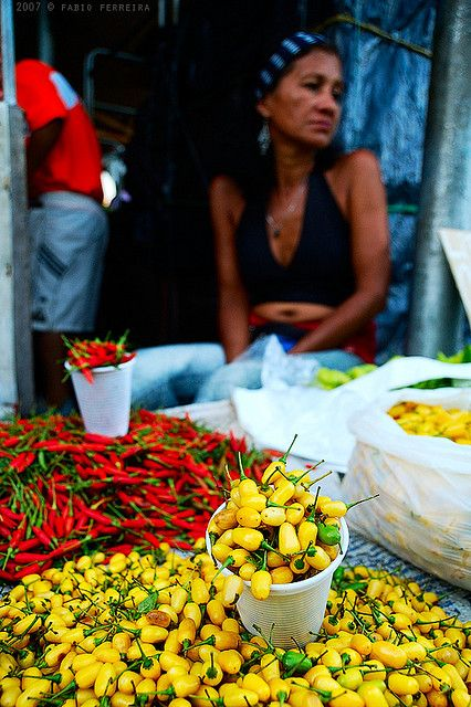 woman selling peppers at the market, Belem, Brazil