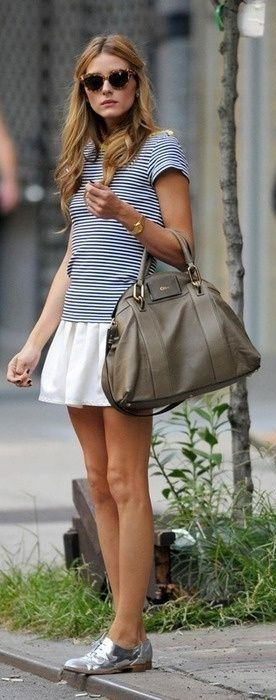 Olivia Palermo in stripes and a white skirt - street style