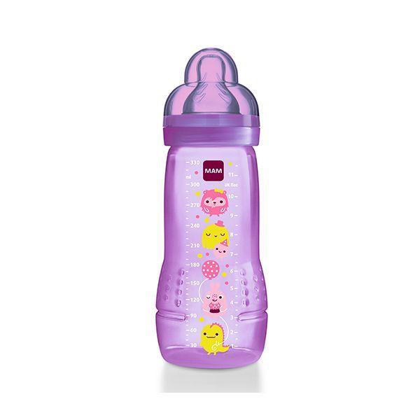 Mamadera Mam modelo niña. 330 ml  http://www.babytuto.com/productos/lactancia-mamaderas-mamaderas-de-plastico,mamadera-mam-modelo-nina-330-ml,15657
