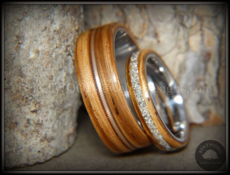 """Bentwood Rings Set – """"Striped Couple"""" Zebrawood with Glass Inlay and Bronze Guitar String Inlay on Titanium Steel Core"""