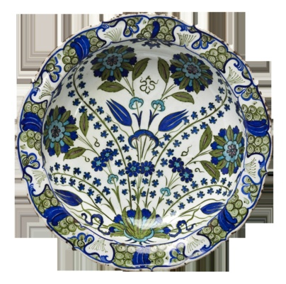 Iznik plate, design of hyacinths and tulips, Ottoman dynasty, ca. 1560. Collection of Museum fur Kunst und Gewerbe, Hamburg, Germany.